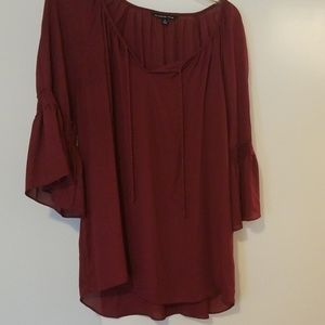 ❤Zach & Rachel 2x Burgundy Bell Sleeve Blouse with